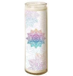 Bougie en verre – Mandala pastel